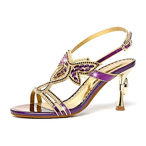 ZWME Damen Peep Toe Strass Straps Strappy Stilettos Slingback Pump Heels Kleid Party Sandalen,Purple-EU36/230 Strappy 4