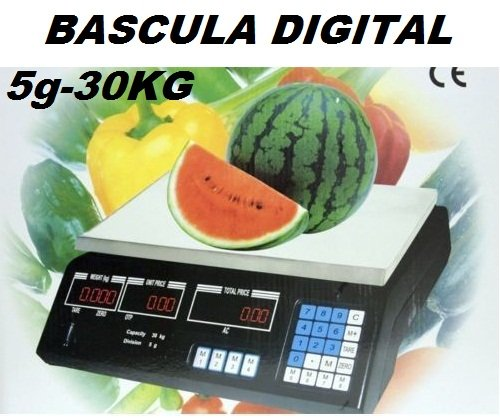 OFERTA! BASCULA DIGITAL COMERCIAL. BALANZA PESA DIGITAL ELECTRONICA PARA COMERCIO. 30KG. -...