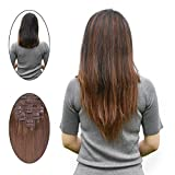 Remy Clip in Human Hair Extensions Full Head 16 Inch #4 100 Gram 10 PCS Clip in Hair Extensions Brown