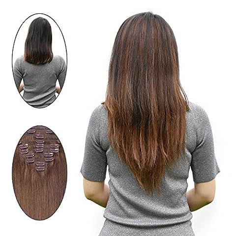 40,6cm 100g 10pcs Clip en Extensions de cheveux, double Trame Remy Clip en Extensions de cheveux humains (10Marron, Blond clair) mèches de cheveux naturels UK (40,6cm 100grammes 10pièces # 4# 60Total 26Clips)