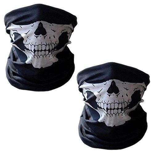 2er Set Multifunktionstuch | Schlauchtuch | Sturmmaske | Bandana | Totenkopf Halstuch Skelettmaske für Motorrad Fahrrad Ski Paintball Gamer Karneval Kostüm Skull Maske