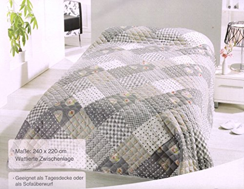 Home Edition Gesteppter Bettüberwurf Sofaüberwurf Tagesdecke 220 x 240 cm, Patchwork grau beige