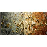 Free Shipping - (16 * 32 Inches) Original Handmade Hand Painted Unframed Oil Paintings On Canvas Golden Leaves For Home Decor And Living Room Decoration And Wall Paintings Hangings
