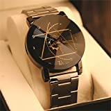 #5: Skylofts Analogue Black Dial Men's And Women Stainless Steel Watch (Men Size)