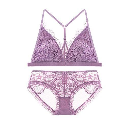 Vertvie Damen Dessous Set Spitze BH und String Set Ohne Bügel Bralette Reizwäsche Crop Top Lingerie Unterwäsche(Violett, M)