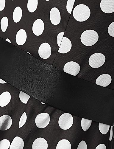 Dressystar Vintage Tupfen Retro Cocktail Abschlussball Kleider 50er 60er Rockabilly Neckholder Schwarz Weiß Dot M - 5