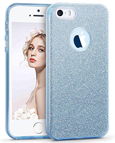 Imikoko iPhone SE Fall, iPhone 5S Fall, 3in 1Sparkle Glitter Fashion Luxus Bling Hybrid Beauty Schutz Schutzhülle Slim für Apple iPhone SE/5S/5(Blau)
