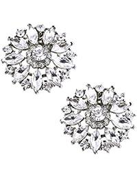 ElegantPark AH Fashion Shoe Embellishments Glitzy Crystals Wedding Party Shoe Clips