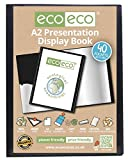 eco-eco A2 50% recyceltem 40 Pocket schwarz Ordner Präsentation Display Book