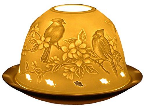 Himmlische Düfte Geschenkartikel DL0001 Dome Light Vögel/Birds Windlicht Porzellan 12 x 12 x 8 cm, weiß
