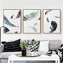 Acuarela Pluma de lujo Lienzo Pintura Sala de estar Decoración del hotel Tríptico Arte abstracto Cuadros de pared-40x60cm Sin marco