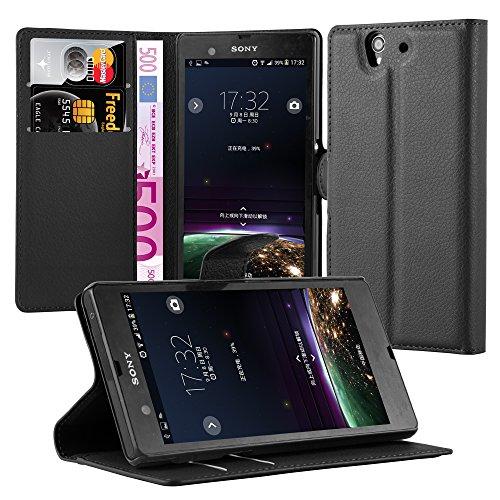 Cadorabo Hülle für Sony Xperia Z (1.Gen.) Hülle in Phantom schwarz Handyhülle mit Kartenfach & Standfunktion Case Cover Schutzhülle Etui Tasche Book Klapp Style Phantom-Schwarz
