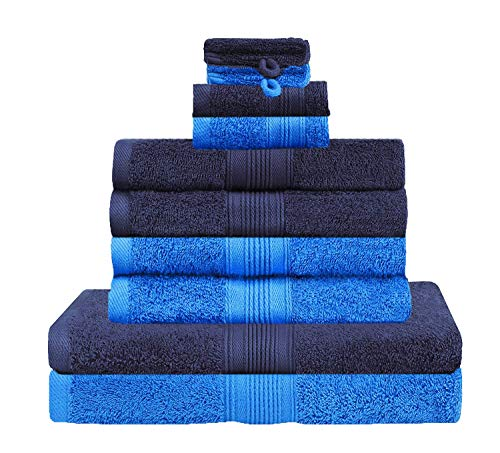 GREEN MARK Textilien 10 TLG. FROTTIER Handtuch-Set mit verschiedenen Größen 4X Handtücher, 2X Duschtücher, 2X Gästetücher, 2X Waschhandschuhe - Premium Qualität (10 TLG. FROTTIER Set, Navy/Royal)