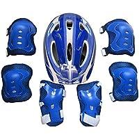 LoKauf Juego infantil 7ST. Equipo de Protección Set Rodilleras Coderas Casco para 5–11Años, color azul oscuro, tamaño 25*19cm
