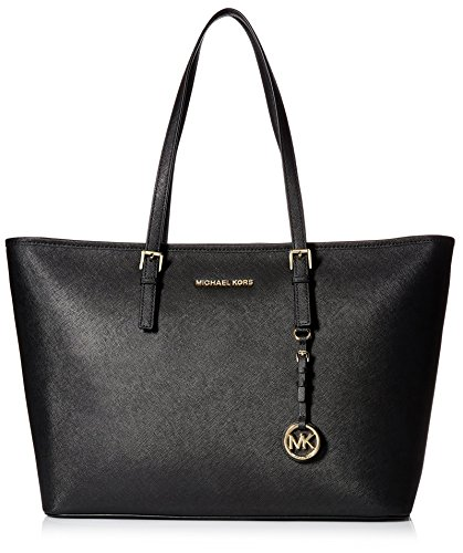 Michael Kors Jet Set Travel Saffiano Leather Top-Zip Tote 30T5GTVT2L Damen Henkeltaschen 39x30x15 cm (B x H x T), Schwarz (Black 001)