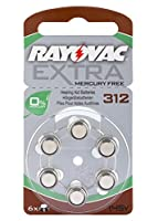 Rayovac Size 312 Mercury Free Hearing Aid Batteries - 1 Pack of 6 Cells + Free Battery Caddy