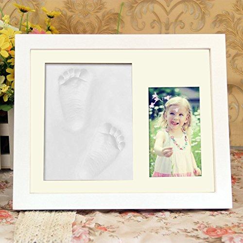 Arshiner Handabdruck und Fussabdruck 3D-Abdruck Bilderrahmen aus Holz mit sicheren Acrylglas und drei Abdruckmasse, Weiß, Baby Geschenk