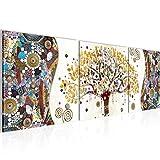 Wandbild Gustav Klimt - Baum des Lebens Bilder 120 x 40 cm Vlies - Leinwand Bild XXL Format Wandbilder Wohnzimmer Wohnung Deko Kunstdrucke Gelb 3 Teile -100% MADE IN GERMANY - Fertig zum Aufhängen 004633a