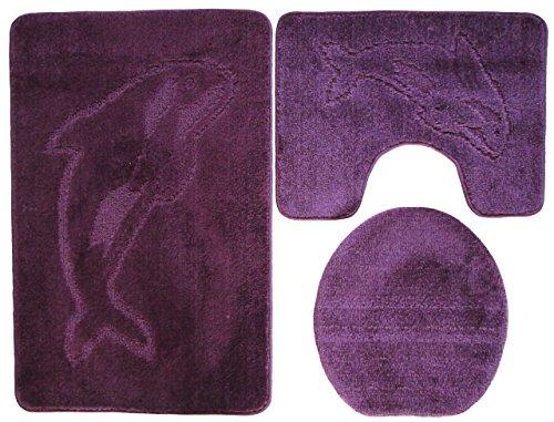 Delphin Badgarnitur 3 tlg. Set 55x85 cm beere lila WC Vorleger mit Ausschnitt für Stand-WC
