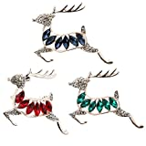 #8: Rrimin Inlaid Diamond Small Deer Decoration Accessory Pin Brooch (Blue)