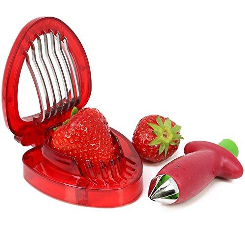 COM-FOUR® Set di 2 pezzi fragola e stelo di pomodoro e taglia fragola (2 pezzi - mix di fragole)