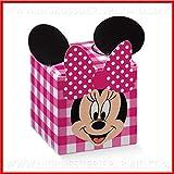 Ingrosso e Risparmio 12 Scatoline cubiche portaconfetti a Quadri Fucsia con Minnie firmate Disney in cartoncino confettate Originali Nascita, Battesimo Femmina (Senza confezionamento)