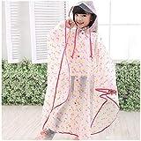 Geyao Mantel der Mantel-Regenmantel-Wellen-Punkt-im Freien Art- und Weisedurchlässige Männer und Frauen Baby-Poncho (Color : Pink Yellow dot, Size : S)