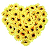 Vosarea 50 Stücke Blumenköpfe Künstliche Sonnenblume Köpfe Sonnenblume Deko für Haus Küche Gartentisch Hochzeit Mittelstücke Handwerk Kunst