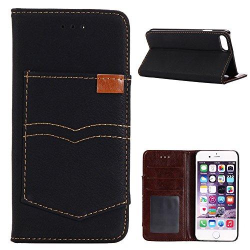 KM-WEN® Schutzhülle für Apple iPhone 7 (4,7 Zoll) Bookstyle Cowboy Jeans Tasche Muster PU Leder Wallet Case Flip Cover Hülle Tasche Schutzhülle mit Standfunktion Kartenfächer für Apple iPhone 7 (4,7 Z Retro Tasche Schwarz