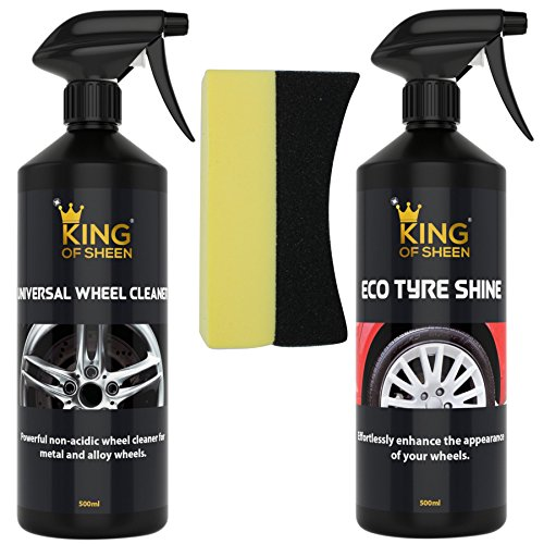 King of Sheen Kit de cuidado de ruedas, limpiador de neumáticos de brillo ecológico y universal + esponja de apósito de neumáticos