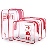 ANRUI Transparente Kulturtaschen TSA Kulturbeutel Genehmigt Reisen Weiter Air Airport Compliant Bag Quart Größe 3-1-1 Kit Reisegepäck Beutel 3 teile/paket (rot, S)