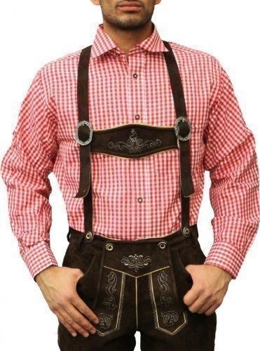 Trachtenhemd für trachten lederhosen wiesn freizeit Hemd rot/kariert, Hemdgröße:4XL