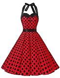 Dressystar DS1957 Robe de Bal Polka Vintage pin-up à 'Audrey Hepburn' 50's 60's Rockabilly Halter,Dos Nu, Rouge à Pois Noir S