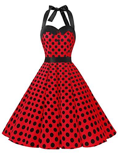 Dressystar DS1957 Vintage Tupfen Retro Cocktail Abschlussball Kleider 50er 60er Rockabilly Neckholder Rot Schwarz Dot L
