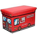 Warenhandel König Faltbare Aufbewahrungsbox mit gepolstertem Deckel zum Verstauen und Sitzen mit fröhlichem Motiv (Fire Truck)