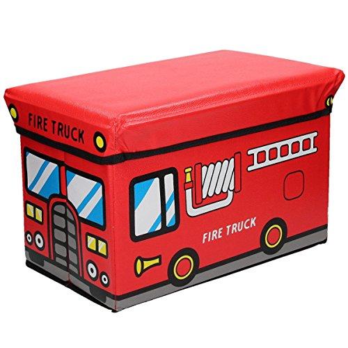 Faltbare Aufbewahrungsbox mit gepolstertem Deckel zum Verstauen und Sitzen mit fröhlichem Motiv (Fire Truck)