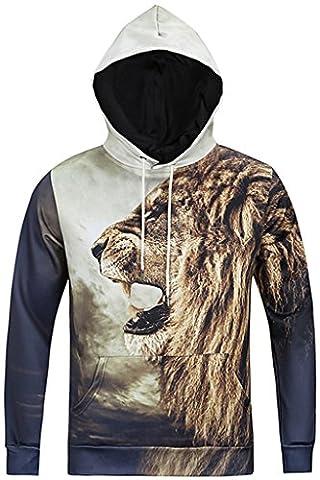 Pizoff Unisex Hip Hop sweatshirts hoodie with Paint Splatter 3D Digital Print Lion Y1760-10-S