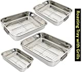 Best Cookware Roasting Pans - Prima 4PC STAINLESS STEEL ROASTING TRAY SET WITH Review