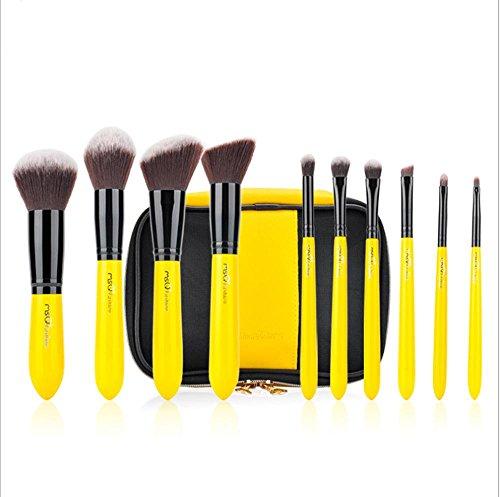 MSQ 10 Pcs Doux Ovale Brosse À Dents Maquillage Brosse Ensembles Fondation Brosses Crème Contour Poudre Blush Concealer Brosse , t02t25