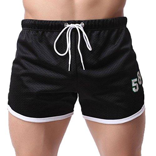Kanpola Shorts Herren Fitness Bodybuilding Mode Sommer beiläufige kurze Hosen (2XL, Schwarz) (Unterwäsche Simpson Homer)