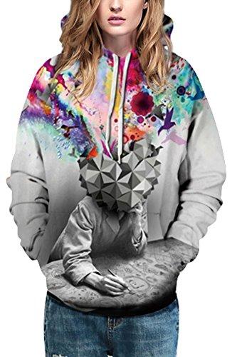 Bettydom Femme Sweats à Capuche Multicolores Unisexe Tops à Manches Longues Casual Imprimé 1-Fantaisie