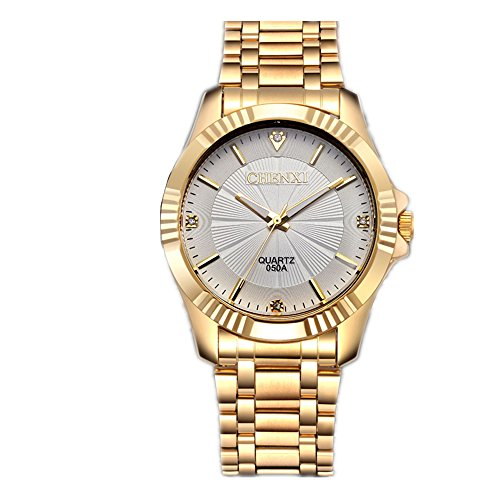 CHENXI Herrenmode Klassische Quarz Analog Stahl Gold Armbanduhr (Weiß)