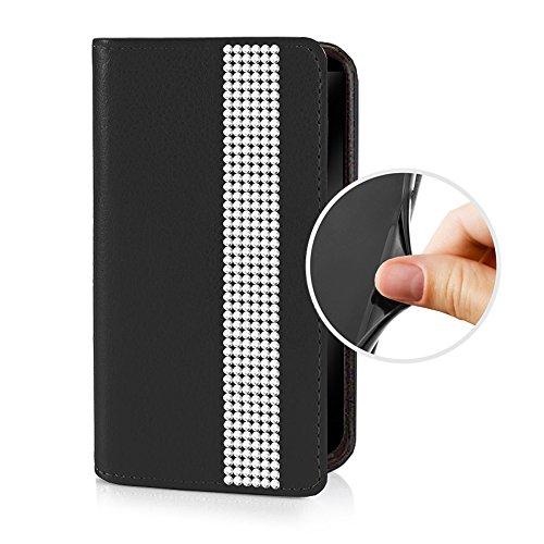 eSPee GNEBo053 Samsung Galaxy Note Edge SM-N915F Schutzhülle Wallet Flip Case Schwarz mit Strass Borte Silikon Bumper und Magnetverschluß für Samsung Galaxy Note Edge SM-N915F