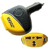 H27 KFZ Spannungswandler 12V 230V AC / 100W Power Inverter USB Port für Auto, Dauerausgangsleistung: 100W, Ausgangsfrequenz: 50Hz oder 60Hz, Ausgangsspannung am USB-Ladeausgang: 5V DC 300-500mAh (max. 0,5A), gegen Überhitzung, Überlastung, Unterspannung zum Schutz der Batterie und gegen Kurzschluss, Abmessung: 125mm x 76mm x 43mm