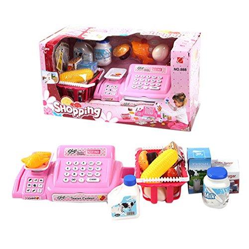 Happy Cherry - Enfant Jeu d'Imitation Jouet Caisse Enregistreuse Rose avec Scanner Accessoires Supermarché Jouet Educatif en Plastique Cadeau pour Bébé Fille Garçon - 18.5*36*17cm - 26 pcs