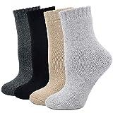 Winter Socken Damen Warme Dicke Wollesocken, Damen Dicke Bunte Stricksocken Thermo Socken mit Innenfrottee, 4 Paare