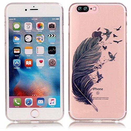 Vandot iPhone 7Plus Case ultra-thin ultra-light Slim Schutzhülle TPU Silikon Bumper Case Cover Hart PC Kunststoff Schutzhülle für iPhone 7Plus etui-encre D 'Art großen Blütenblätter Color 28