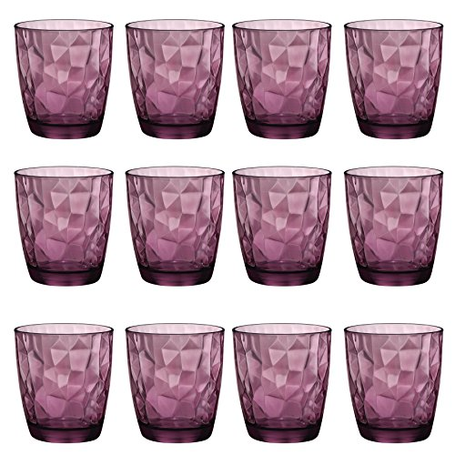 Bormioli Rocco Diamant Dimpled Double Old Fashioned Tumblers - Rock Purple - 390 ml - Packung mit 12 - 12 Double Old Fashioned Gläser