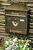 Wandbriefkasten,Briefkasten, Premium-Qualität aus Stahl, verzinkt, pulverbeschichtet Walmdach W edel messing gold goldfarben Zeitungsfach Zeitungsrolle Postkasten
