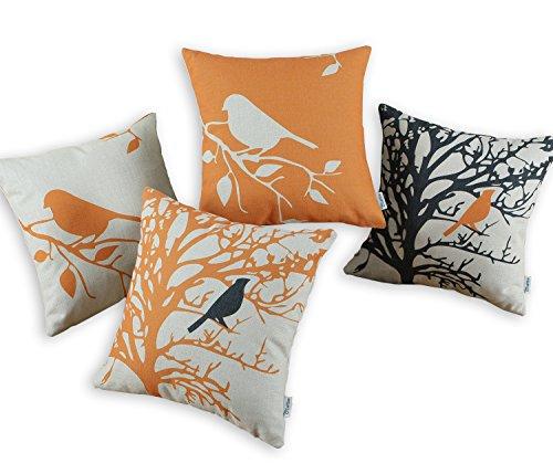 Set von 4 Euphoria CaliTime Werfen Kissen Covers Vintage Vögel Zweige,45cm X 45cm Schwarz Oranien